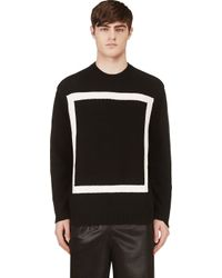 T By Alexander Wang - Black Knit White Square Motif Crewneck for Men - Lyst
