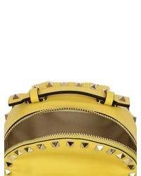 Valentino - Yellow Rockstud Nappa Leather Mini Backpack - Lyst