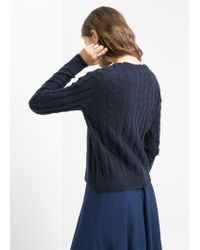 Mango - Blue Cable Knit Alpaca-Blend Sweater - Lyst