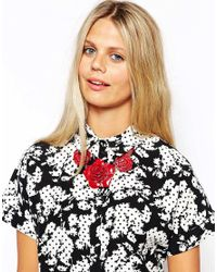 Cath Kidston - Red Rose Necklace - Lyst