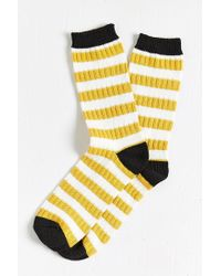 Urban Outfitters - Yellow Sweater Stripe Sock for Men - Lyst