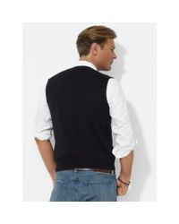 Polo Ralph Lauren | Black Cotton V-neck Vest for Men | Lyst