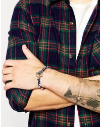 ASOS - Plaited Bracelet With Anchor In Blue for Men - Lyst