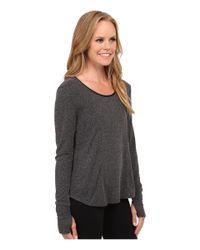 Alo Yoga | Gray Lotus Fleece Long Sleeve Top | Lyst