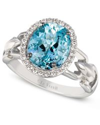 Le Vian - Blue Aquamarine (2 Ct. T.w.) And Diamond (1/6 Ct. T.w.) Oval Ring In 14k White Gold - Lyst