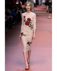 Dolce & Gabbana - Pink Stretch Tulle Rose Dress - Lyst