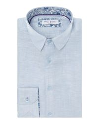 Without Prejudice | Blue Plain Tailored Fit Button Down Shirt for Men | Lyst