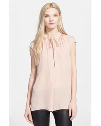 Vince - Natural Cap Sleeve Blouse - Lyst