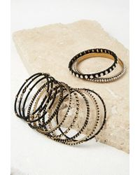 Forever 21 | Metallic Faux Gemstone Bangle Set | Lyst
