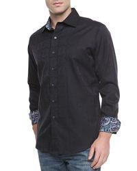 Robert Graham - Black Salisbury Tonal-jacquard Sport Shirt for Men - Lyst