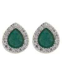 Monica Vinader | Green Gold Vermeil Diamond And Aventurine Naida Lotus Stud Earrings | Lyst