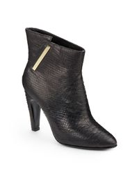 Sigerson Morrison | Black Vikas 2 Snake embossed Leather Ankle Boots | Lyst