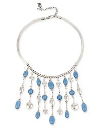 Kenneth Cole | Blue Silver-tone Stone Fringe Necklace | Lyst