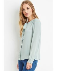 Forever 21 - Green Bow-front Blouse - Lyst