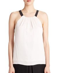 MILLY | White Contrast Crepe Top | Lyst