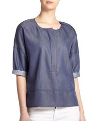 Vince | Blue Half-Placket Pullover Top | Lyst