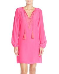 Lilly Pulitzer - Pink 'roslyn' Embroidered Silk Tunic Dress - Lyst