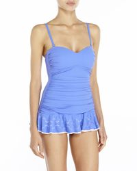 Gottex | Blue Tutti Frutti Bandeau Laser Cut Swimdress | Lyst
