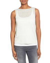 Eileen Fisher - White Organic Linen Blend Bateau Neck Shell - Lyst