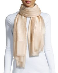 La Fiorentina | Natural Sequin-Detail Metallic-Cashmere Wrap | Lyst