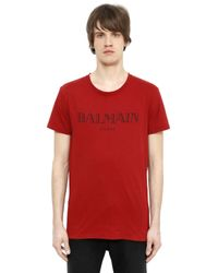 Balmain | Red Logo Printed Cotton T-shirt for Men | Lyst