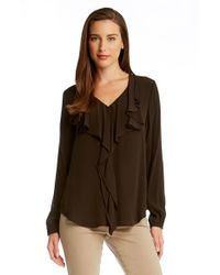 Karen Kane | Brown Draped Ruffle Front Blouse | Lyst