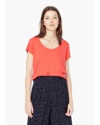 Mango - Pink Soft Fabric T-shirt - Lyst