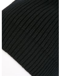 Lanvin - Black Ribbed Beanie for Men - Lyst