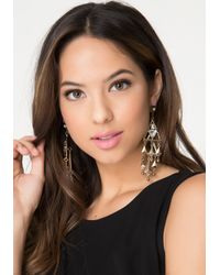 Bebe - Metallic Geometric Layered Earrings - Lyst
