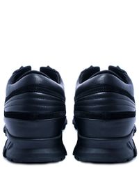 Lanvin - Black Panel Leather And Suede Running Trainers for Men - Lyst