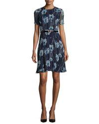 Jason Wu - Multicolor Short-sleeve Floral-print Belted Dress - Lyst