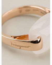 Ferragamo - Metallic Gemstone Ring - Lyst