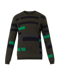 PS by Paul Smith | Green Broken-Stripe Intarsia Wool Sweater for Men | Lyst