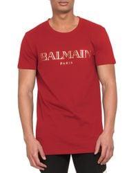 Balmain - Red Logo Print Cotton Jersey Tee for Men - Lyst