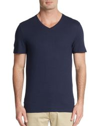 Calvin Klein | Blue Heathered Cotton V-neck Tee for Men | Lyst