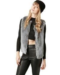 TOPSHOP | Gray Faux-Fur Gilet Vest | Lyst