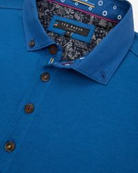 Ted Baker | Blue Woven Collar Polo Shirt for Men | Lyst