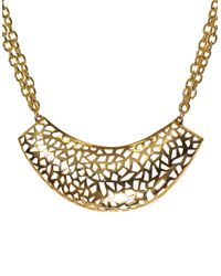 Kara Ross | Metallic Goldtone Multi Chain Necklace With Crescent Pendant | Lyst