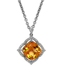 Lord & Taylor - Metallic Citrine, Diamond And Sterling Silver Pendant Necklace - Lyst