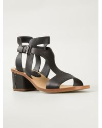 Roberto del carlo Low Chunky Heel Sandals in Black | Lyst