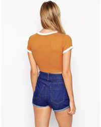 ASOS | Orange Crop Top In Jumbo Rib With Tipped Neckline | Lyst
