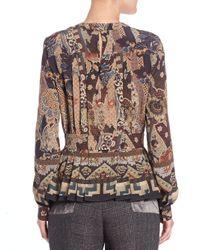 Etro - Brown Floral-print Slit-keyhole Blouse - Lyst