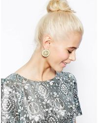 ASOS | Metallic Limited Edition Faux Pearl Saucer Stud Earrings | Lyst