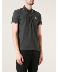 Moncler - Gray Classic Polo Shirt for Men - Lyst