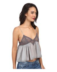 Free People - Blue Cami Sweet Lace Top - Lyst