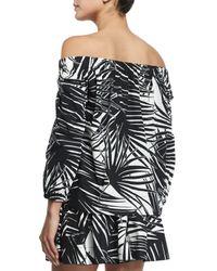 Marc Jacobs - Black Off-the-shoulder Palm-print Blouse - Lyst