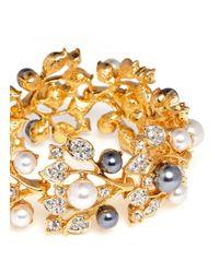 Kenneth Jay Lane Metallic Crystal Pearl Vine Bracelet
