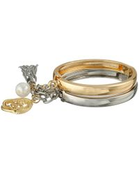 Guess - Metallic Handcuff Style Bangle Set With Charms Bracelet - Lyst