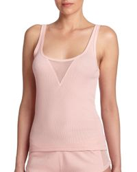 Skin - Pink Tulle-inset Tank - Lyst