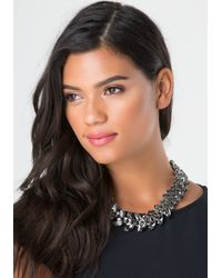 Bebe | Black Crystal Leaf Short Necklace | Lyst